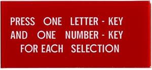 "Instruktionsglas ""Press One Letter-Key ..."""