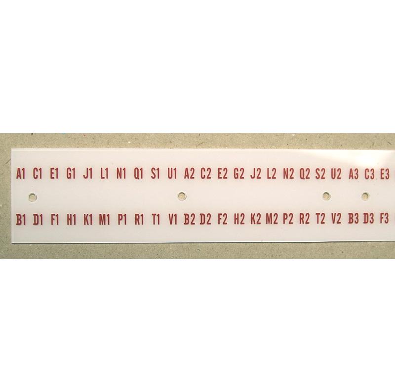 Buchstaben- und Zahlenstreifen in Plattenanzeige