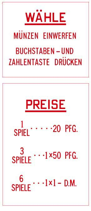 Price and instruction glasses, German - DM