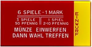 """Instruction glass """"Münze einwerfen ..."""", German"""