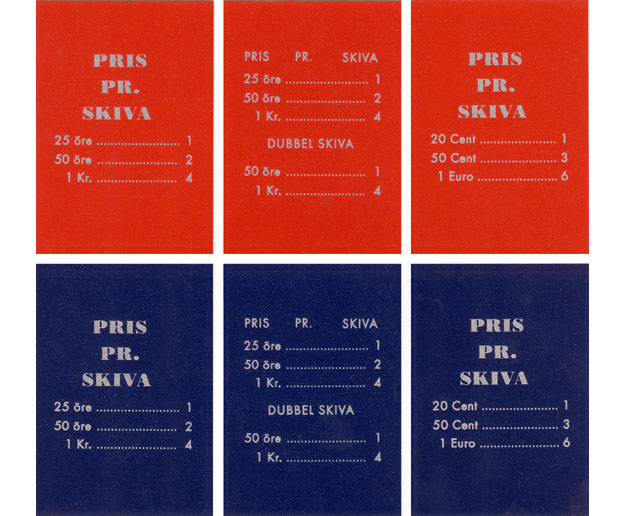 Pricing card, Swedish