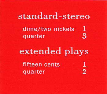 """Pricing card """"standard-stereo / extended plays"""""""