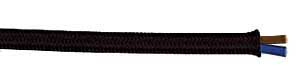Rayon cloth covered wire, black, 2-conductor