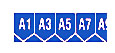 Record rack letter and number strip, blue