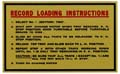 "Decal ""Record Loading Instructions"""