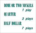 "Pricing card  ""DIME OR TWO NICKELS ..."", turquoise"