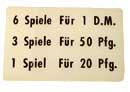 """Instruktionsschild """"6 Spiele ..."""""""