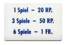 """Preisschild """"6 Spiele"""", CH"""
