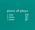 "Pricing card ""price of plays"", GB, turquoise"