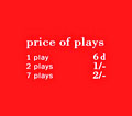 "Pricing card ""price of plays"", GB, orange"