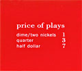 "Pricing card ""price of plays"", US, orange"