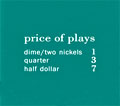 "Pricing card  ""price of plays"", US turquoise"