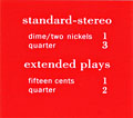 "Pricing card ""standard-stereo / extended plays"""