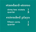 "Pricing card  ""standard-stereo / extended plays"", turqouise"