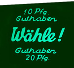 "Coin glass ""10 Pfg. Guthaben ..."""
