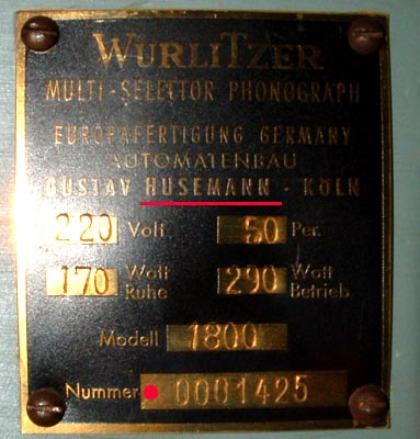 Typenschild Husemann Wurlitzer 1800