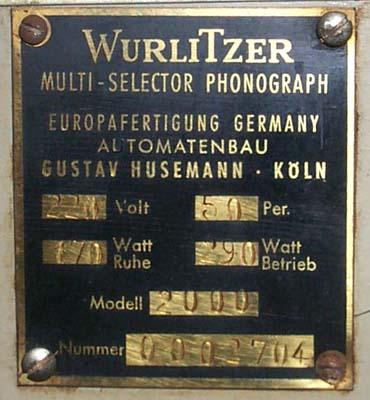 Husemann Wurlitzer 2000 Typenschild