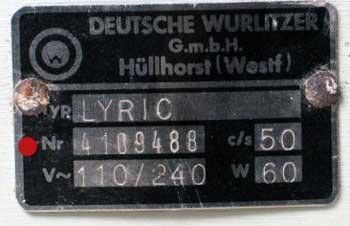 Deutsche Wurlitzer Lyric Typenschild