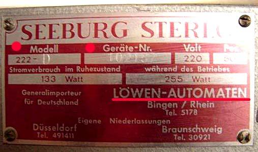 Typenschild Seeburg 222