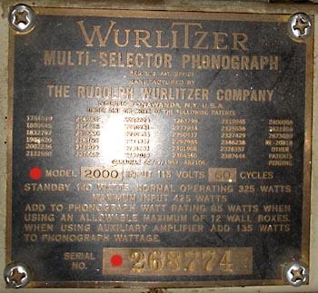 Typenschild Wurlitzer 2000