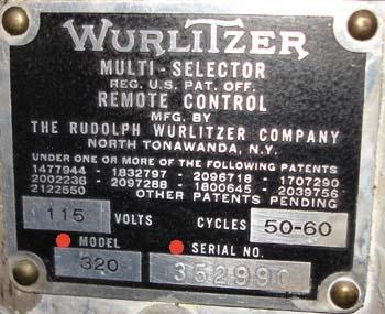 Wurlitzer 320 Typenschild